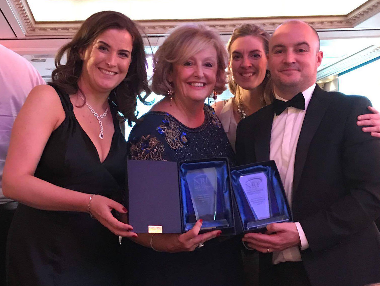 Eileen Moloney, Head of Marketing, Barbara McGrath, MD, Estelle David, Board Director, Mark Byrne, Commercial Director of Brightwater Recruitment at the NRF Awards