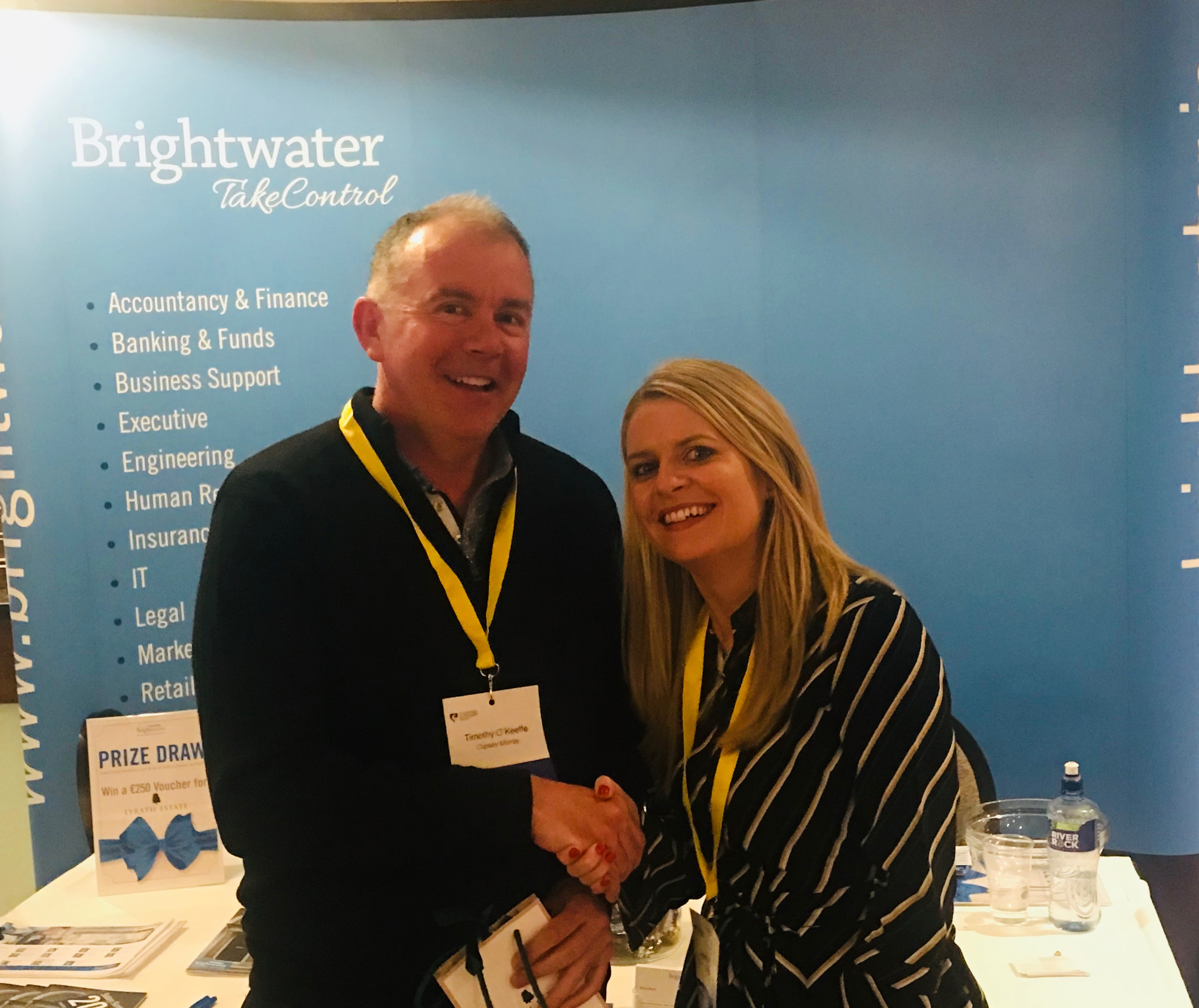 Brightwater prize draw winner Tim O'Keeffe of Copsey Murray together with Brightwater Commercial Director Jean O'Donovan