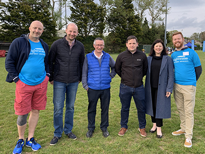 ACA Ulster Society Comittee with Brightwaters Tom Wilkinson at the Chartered Accountants Cork Society Tag Rugby Tournament sponsored by Brightwater in Cork Constitution FC