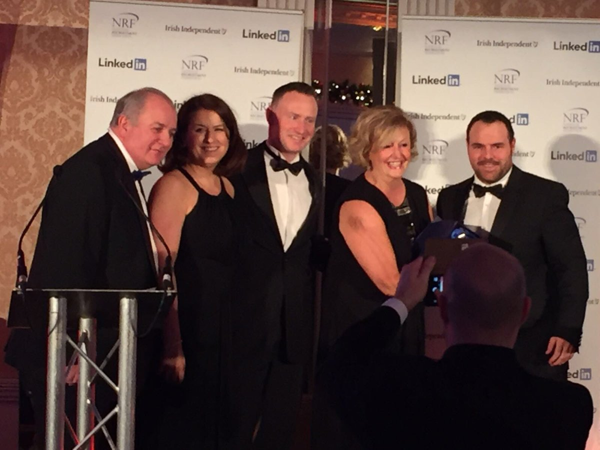 Brightwater Recruitment collecting their award for Best Angency (Online), with Gavin Duffy