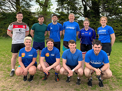Team KPMG at the Chartered Accountants Cork Society Tag Rugby Tournament sponsored by Brightwater in Cork Constitution FC