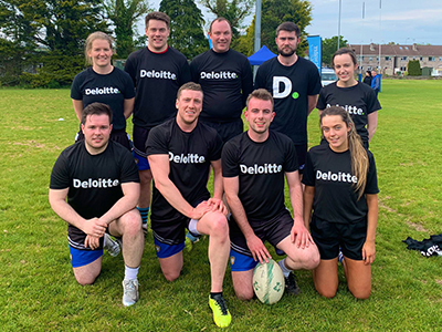 Team Deloitte Ireland at the Chartered Accountants Cork Society Tag Rugby Tournament sponsored by Brightwater in Cork Constitution FC