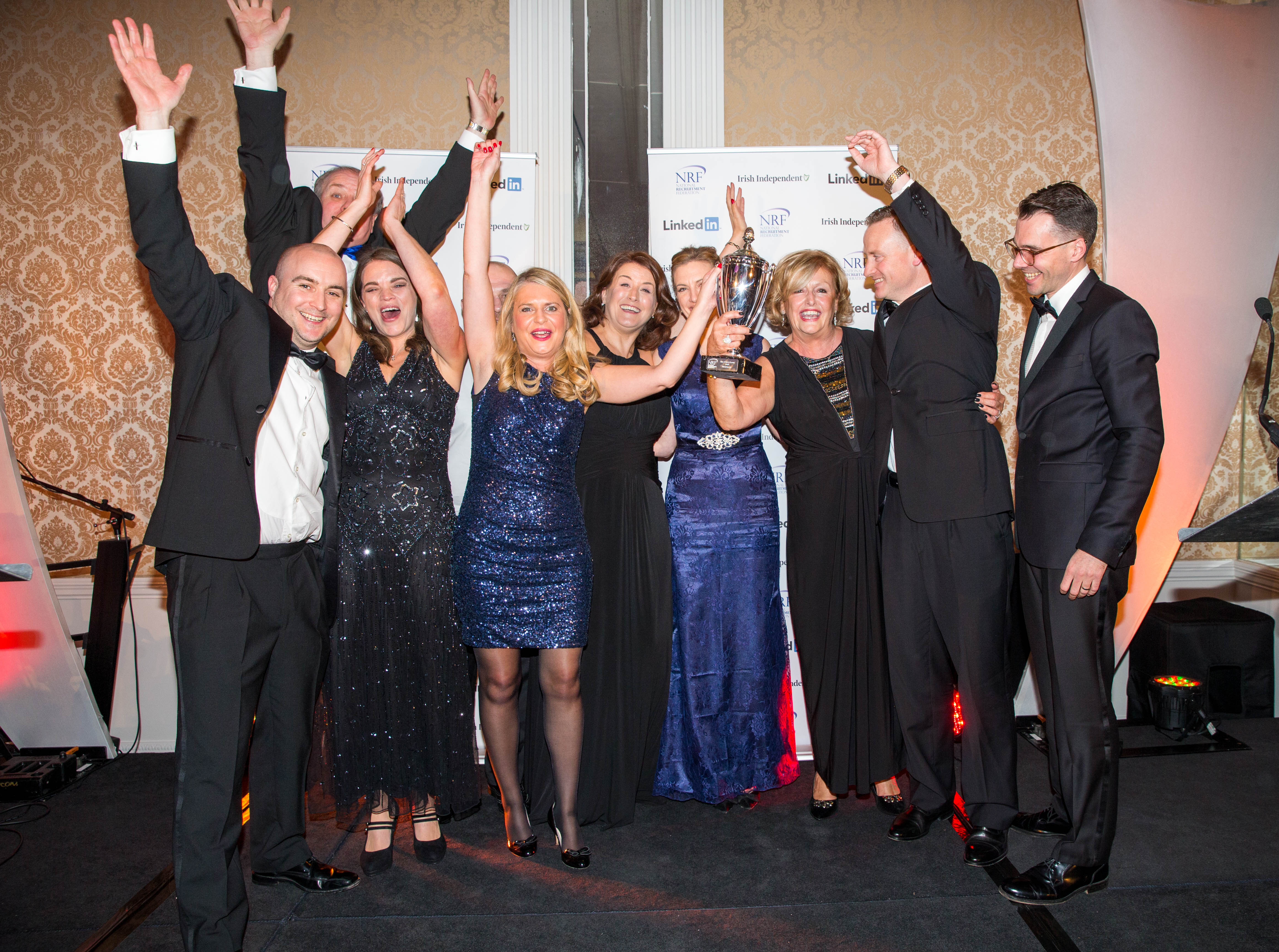 Winners of Agency of the year (Large) Brightwater with Sponsor (far right) James Payne from Bond Adapt