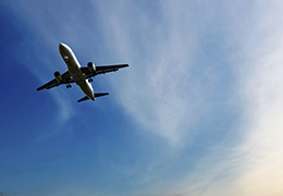 Airplane flies overhead